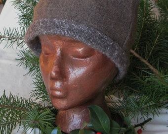 Felted wool hat from gently used 100% wool sweaters
