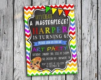 Art Birthday Party Invitation - Painting Party Invitation - Art Party Invite - Chevron - Chalkboard - Digital File - Printable