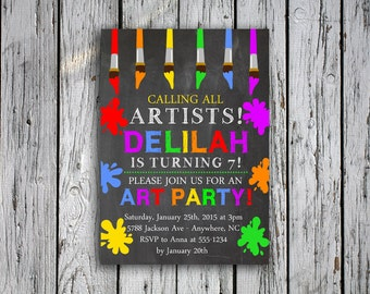 Art Birthday Party Invitation - Painting Party Invitation - Calling All Artists - Paintbrushes - Chalkboard - Digital File - Printable
