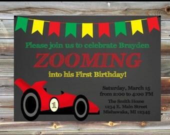 Racecar Theme First Birthday Invite - Racing Theme Birthday Invitation - Custom 1st Birthday Invite for Boy - Racecar Birthday Invitation