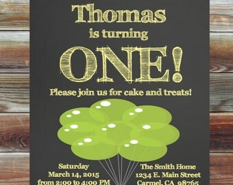 Balloon Theme First Birthday Invitation for Boy or Girl - Chalkboard Birthday Invitation - 1st Birthday Boy Invitation - Balloon 1st Bday
