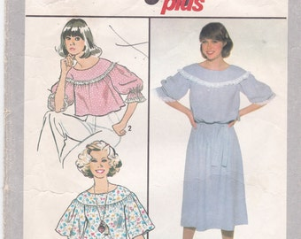 Pullover Top and Dress Gathered to Round Yoke Vintage Midriff Top Simplicity Sewing Pattern 8469 Misses' Size 10