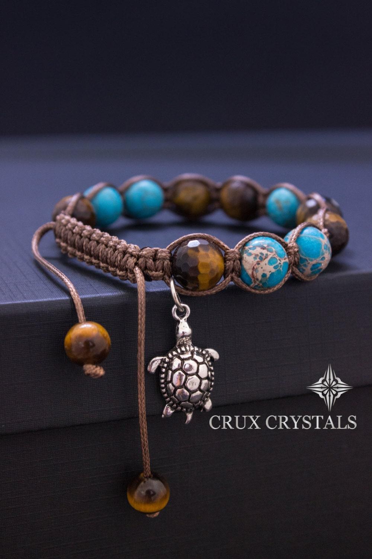 Turtle Charm Womens Shamballa Bracelet Blue Turquoise