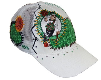 BOSTON CELTICS handmade & hand-stitched basketball all white adjustable hat topped with a charm and Swarovski crystals