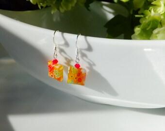 Earrings millefiori glass