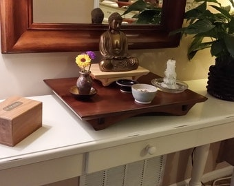 Buddhist Altar and Buddha Stand combo with your choice of 3 different wood species.  21L x 15d x 3h