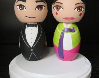 Mr. and Mrs. Korean Hanbok Wedding Cake Topper