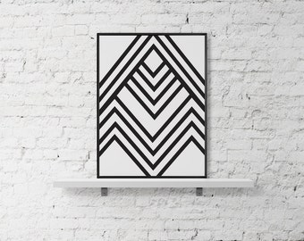 Geometric pattern printable wall art, printable black and white design poster, modern art instant download print minimalistic, modern poster