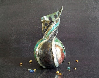 Raku turquoise and purple ceramic vase - artistic - liberty inspired