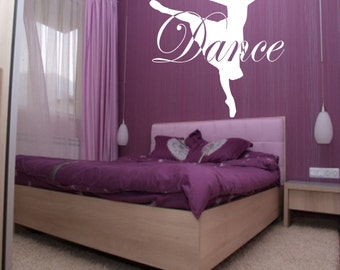 Dance Custom Wall Decal - dress, Choose Color, girls room decor, ballet decor, ballerina decal, ballet decal, ballerina decor, dancing art