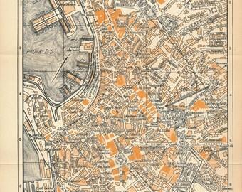 1953 Genoa (Genova) Italy Vintage Map