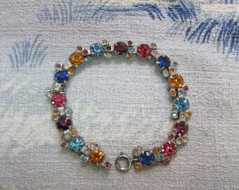 Vintage silver-tone multicoloured rhinestone bracelet