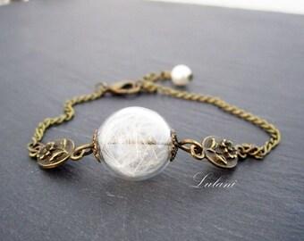Bracelet with real dandelion