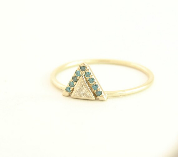 ring halo engagement ring triangle cut by