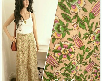 Vintage 70's Pink Liberty Ditsy Floral Boho Folk Cotton Maxi Skirt / UK 8 10 / EU 36 38