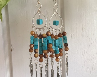 Mojave Desert Dusters // Turquoise Howlite and Shell Chandelier Earrings with Silver Feathers