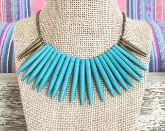 Statement Indio Spikes Gold Necklace
