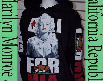 Womens Cali Pullover Sweater Hoodie,Marilyn Monroe Poker & California Republic Arms S,M,L,XL