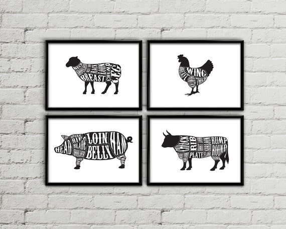 Butcher       diagram       Butcher    chart    Butcher    print by MyPrintableArts