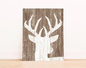 PRINTABLE Art Rustic Deer Print Deer Print Deer Art Antler Print Antler Print Rustic Print Rustic Art Nursery Rt Nursery Print Home Decor