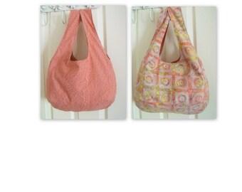 Reversible festival boho bag, slouch shoulder bag, versatile bag for holidays, tote bag , cotton carry all, batik print in burnt orange