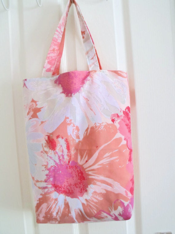 upcycled shopping bag, shopper tote bag for holidays, picnic bag, beach bag , carry all, bright pink floral fabric