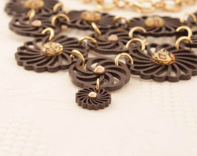 Brown Flower Necklace - Bib Necklace - Flower Necklace - Brown - Circle Necklace - Brown Flower Jewelry - Shrink Plastic - Art - Jewelry