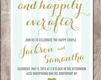 Engagement Party Invitation, Printable Engagement Party Invitation, Happily Ever After Engagement Invitation,  Printable Invitation, Custom