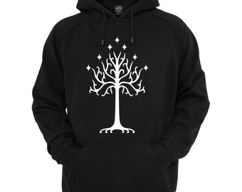 White Tree of Gondor black, athletic grey, royal blue hoodie with drawstrings..Adult and youth sizes available