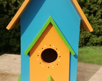 Wooden Bird House -- Hand Painted -- Colorful -- Yard Art