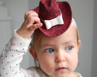 Mini Red Glitter Cowgirl Hat with White Trim, Elastic Headband, Baby Cowgirl Hat, Baby Hat, Cowgirl Costume, Red Cowboy Hat