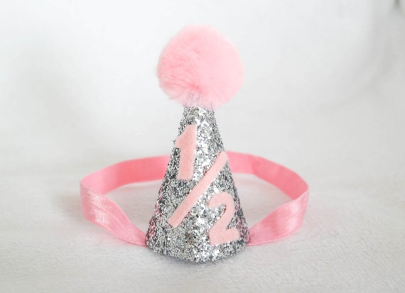 Silver and pink 6 month birthday hat party hat mini party for 6 month birthday decorations