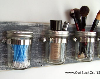 Mason Jar Decor, Gray Distressed Wood Mason Jar Organizer, Gray Decor, Shabby Rustic Decor, Bathroom Storage, Custom orders welcome!