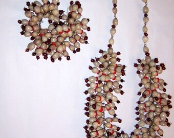 1940's Off-White and Burnt Umber Colored Seed Beaded Set