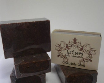 Calendula Zinn Soap- For all skin types. Made with real Calendula Flowers, all over face and body bar leaves a wonderful scent & bubbles