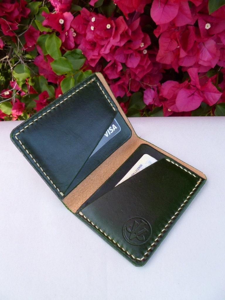 Hand Stitched Leather Wallet Bi-Fold Minimalist Five Colors