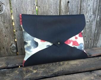 Oversized leather clutch, large clutch, leather envelope clutch, red clutch, black clutch purse, black leather clutch, black clutch