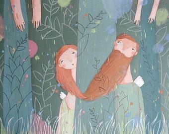 Two in Fairy Garden-Love-Red Hair-Beard-Original Painting-Romantic Art
