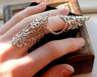 Elven Armour - Finger Cuff Adjustable - Silver Claw
