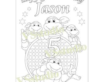 Ninja Turtle Birthday Party coloring page, PDF  file