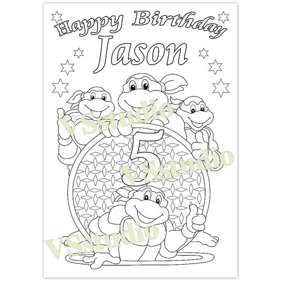 Ninja Turtle Birthday Party Coloring Page PDF File
