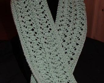Lace Scarf - Knit Scarf - Hand Knit Scarf - Hand Knit Lace Scarf - Knit Light Mint Green Scarf - Knit Lace Scarf - Knit Accent Scarf