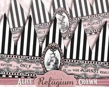 printable crown pink, alice in wonderland, alice party supplies  /Digital Collage Sheet / Instant Download