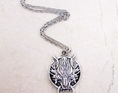 Silver or Bronze Wolf Head Necklace Wolf Jewelry Final Fantasy Cloud Strife Animal Necklace Anime Cosplay Video Game Jewelry Mens Necklace featured image