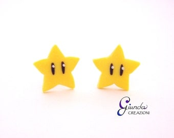 Lobe earrings Invincibility Star Super Mario, handmade, polymer clay