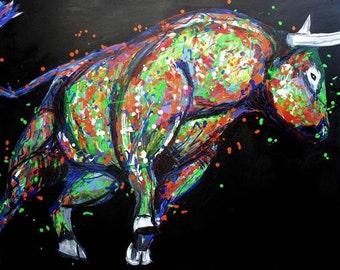 SALE 50% OFF. Bull 48״ animal painting, Animal original Bull painting, Colorful pop art Bull, Large painting, Black background