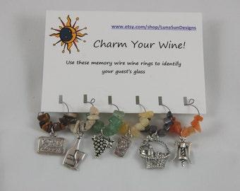Wine Rings - Set of 6. Choose from Wine lovers, Ladybugs, Cowboy, or Sealife