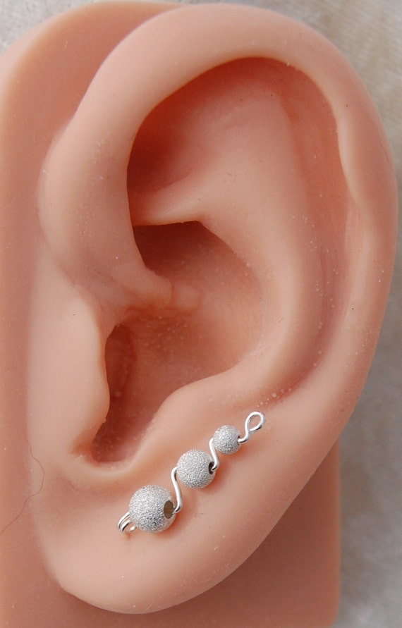 ear climber earrings sterling silver sparkle. Black Bedroom Furniture Sets. Home Design Ideas