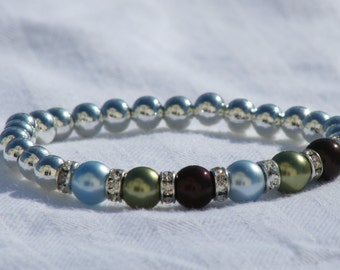 Mother's Bracelet with Swarovski Pearls and rondelles