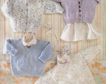 Baby Knitting Pattern Baby Cardigans Baby Sweaters Baby Jumpers V Neck Round Neck DK Cardigans DK Sweaters 16-22 inch PDF Instant Download